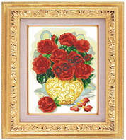 Схема для частичной вышивки бисером «Розы в вазе» ВШ,248х305,Габардин,Арт.ЧБ-94 /00-02