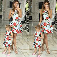 Family Look парные платья мама+дочка Chanel Rose
