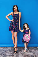 Family Look парные платья мама+дочка Вишенка синие
