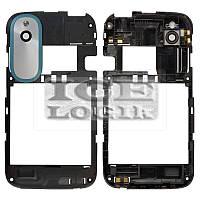 Рамка корпуса с защитным стеклом камеры для мобильного телефона HTC T328e Desire X, черная, с синей