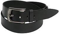 Мужской кожаный ремень под джинсы FLX 3078-1 чёрный ДхШ: 131х3,5 см.