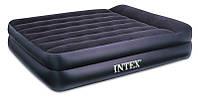 Матрас велюровый Intex 66720 208*163*47см с подголовником кровать