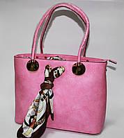 Сумка женская розовая с платком прямоугольная