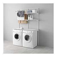 "IKEA ""АЛЬГОТ"" Настенная шина/полки/сушилка, белый, 132x65x196 см"
