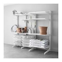 """IKEA """"АЛЬГОТ"""" Стойка/ножка/сетчатые корзины, металл белый, 209x67x194 см"""