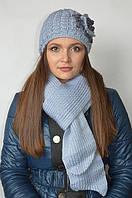 Комплект (шапка с цветком и шарф) серо-голубой