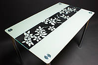Стеклянный стол Цветы рая бежевый (Бц-Стол ТМ)
