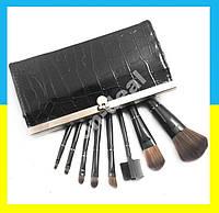 Набор кистей для макияжа в кошельке клатче черном