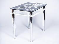 Стеклянный стол Цветы рамка черно-белый (Бц-Стол ТМ)