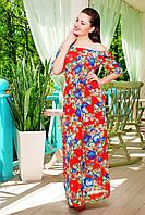 Длинное шифоновое платье с розами. разм.L(46-48)