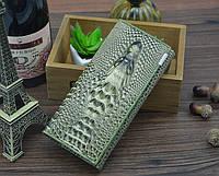 """Элегантный женский кожаный кошелёк Крокодил""""CROCODILE"""". ALLIGATOR.клатч,бумажник.портмоне  зелёный"""