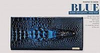 """Элегантный женский кожаный кошелёк Крокодил""""CROCODILE"""". ALLIGATOR.клатч,бумажник.портмоне синий"""