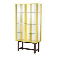 """IKEA """"СТОКГОЛЬМ"""" Шкаф со стеклянными дверями, желтый"""