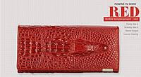 """Элегантный женский кожаный кошелёк Крокодил """"CROCODILE"""" ALLIGATOR.клатч,бумажник.портмоне красный"""