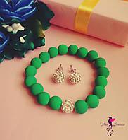 Набор Шамбала неон/ бижутерия/ браслет и серьги-гвоздики/ цвет зеленый