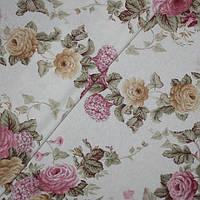 Ткань для штор, скатертей в стиле прованс, 50 % хлопок, букеты роз, малиновый+желтый