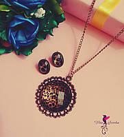 Набор Леопардовый/ серьги и подвеска/ бижутерия/ цвет коричневый