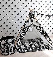 """Детская палатка-вигвам + коврик """"Черно-белые завитки"""""""