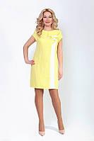 Модное желтое женское платье с коротким рукавом
