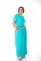 Повседневное штапельное длиное платье с карманами. ботал (3 цвета)