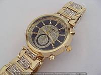 Часы Michael Kors F260 (110904) женские золотистые с черным циферблатом на металлическом браслете в стразах