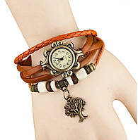 Женские кварцевые наручные часы-браслет в ретро-стиле с подвеской Дерево, цвет - оранжевый