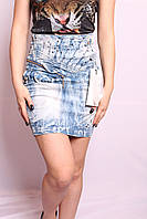 Женская джинсовая юбка с высокой талией