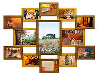 Деревянная мультирамка Симметрия двойное золото на 13 фото