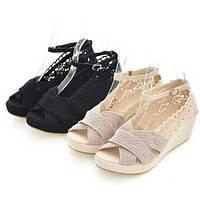 Оригинальные женские босоножки с кружил. Обувь на платформе. Стильный дизайн. Отличное качество. Код: КД162