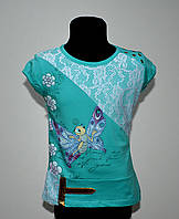 Яркая футболка для девочки. Рост 134-146