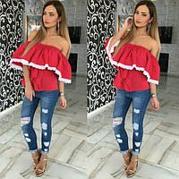 Блузка  Натуральная штапельная в мелкий горошек с кружевом цвет красный