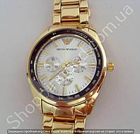 Часы Emporio Armani AR-0456 мужские золотистые со стальным циферблатом на металлическом браслете диаметр 43 мм