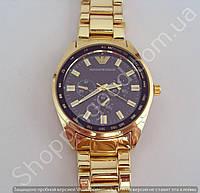 Часы Emporio Armani AR-0456 мужские золотистые с черным циферблатом на металлическом браслете диаметр 43 мм