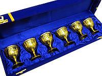 Бокалы бронзовые позолоченные - оригинальный подарок (н-р 6 шт) (h-6см) (39х10х6 см)
