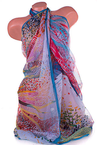 Женское разноцветное парео-платок 140 на 140 см MOSI (МОСИ) SAT25324
