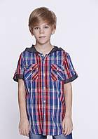 Детская клетчатая рубашка  для мальчика с коротким рукавом и капюшоном Glo-story 98-128р.
