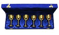 Бокалы бронзовые позолоченые (н-р 6 шт) (h-11 см) (46х15х7 см)
