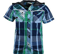 Подростковая рубашка в клетку для мальчика с коротким рукавом и капюшоном. В остатке 134,140,152р.