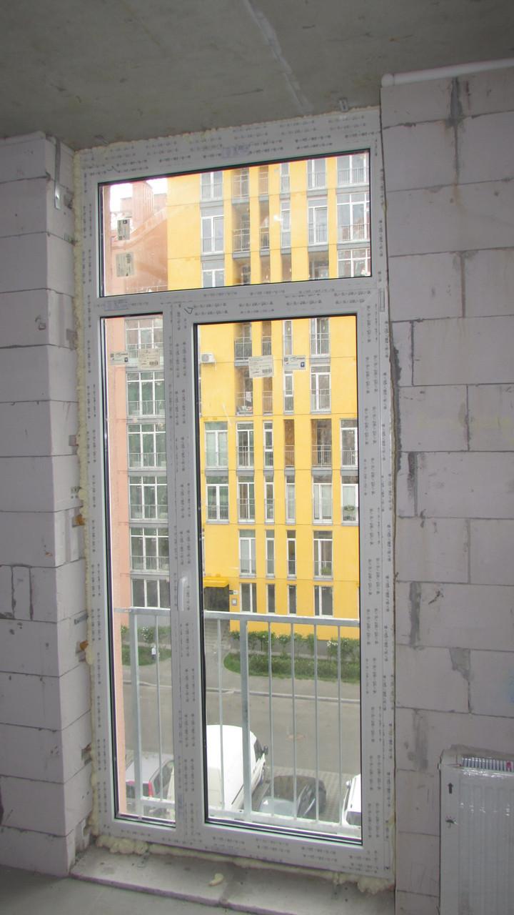 Окно на балкон rehau ecosol 60 комфорт таун 1140х2610 стекло.