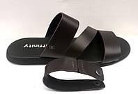 Летние мужские сандалии-трансформеры кожаные темно-коричневые Uk0280