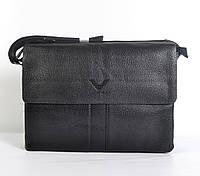Чоловіча наплічна  шкіряна  сумка VIP POLAR  (чорна)