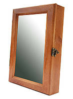 Ключница настенная деревянная 20х30см с зеркалом