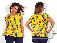 Летняя цветная блуза,модель № X4370,размеры 48-50, 52-54