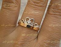 Кольцо корона из серебра со вставками золота.