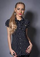 Блуза в горошек с рубашечным воротником
