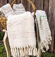 Банное полотенце  из хлопка и тенсела 90х150 Buldans Toprak молочное/розовое