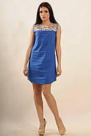 Льняное платье Бренди  цвета: персик | синий,