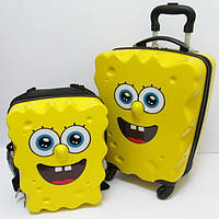 Чемодан на колесах и рюкзак детский дорожный пластиковый Губка Боб