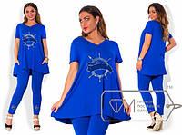 Женский костюм лосины и удлиненная туника турецкая вискоза и рисунок в стразы Размеры: 48, 50, 52, 54