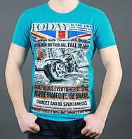 Крутая мужская летняя футболка бирюзового цвета